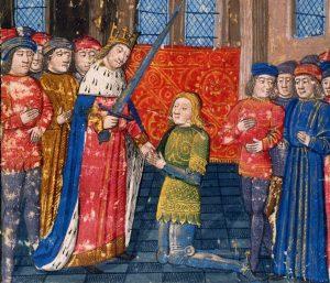 Galaad adoubé par le roi Arthur