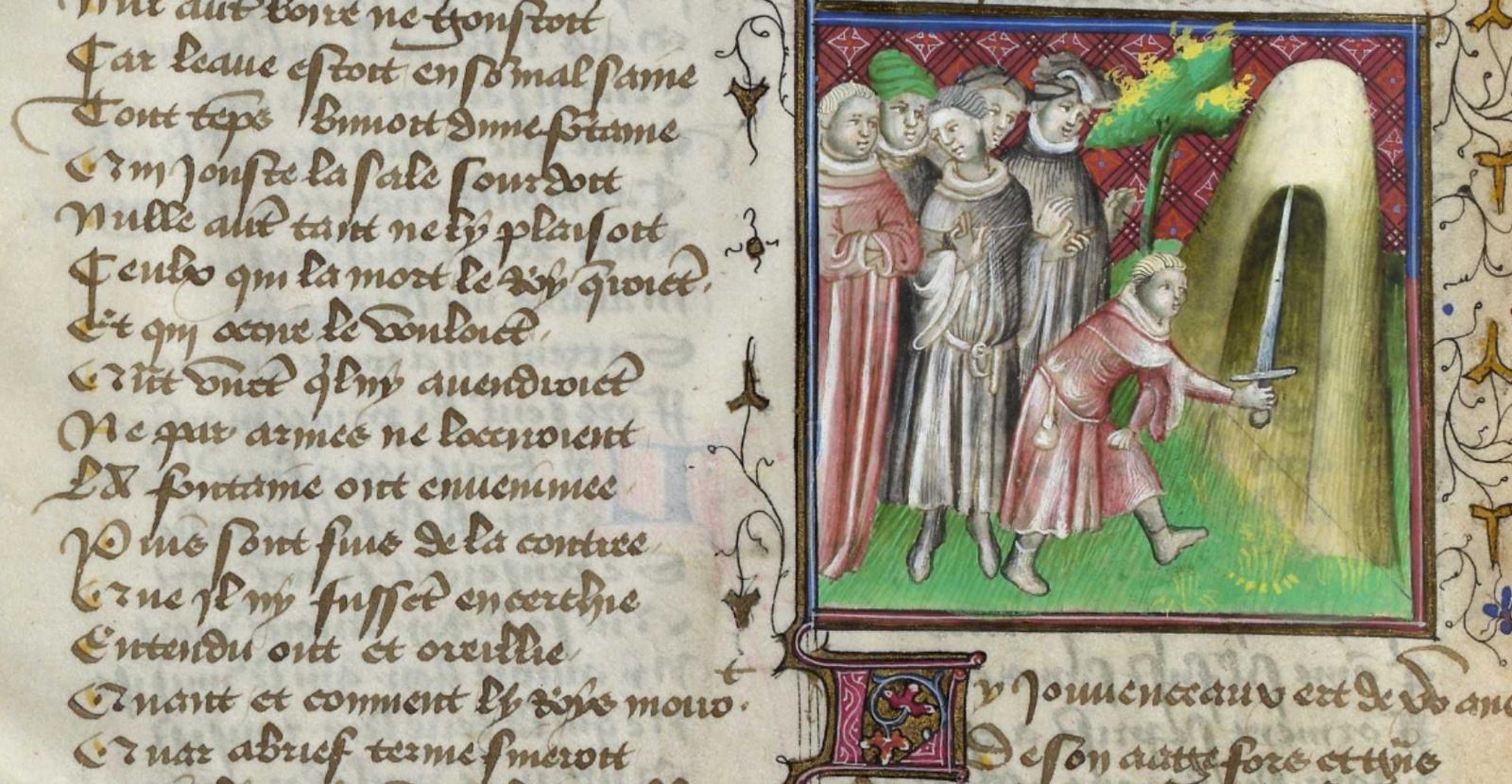 Arthur tirant l'épée du perron de pierre