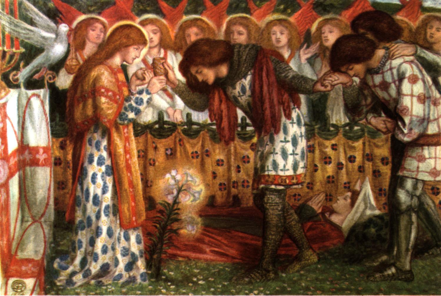Dante G. Rossetti, Galahad, Percival, Bors_and Graal
